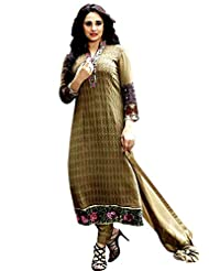 CrazeVilla Women Brown Color Georgette Embroidered Salwar Suit.