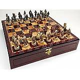 Japanese Samurai Warrior Oriental Chess Set W/ High Gloss Cherry & Burlwood Color Storage Board 17