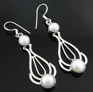 925 Sterling Silver Pearl Edelstein Ohrringe baumeln Set India Fashion Schmuck -Geschenk für Frau