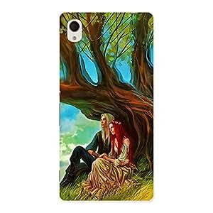 Cute Couple Under Tree Multicolor Back Case Cover for Xperia M4 Aqua