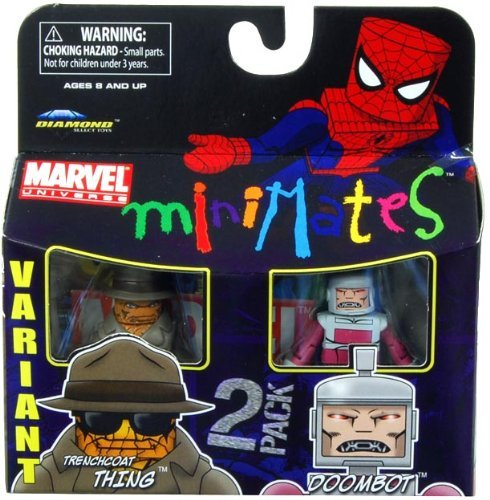 Marvel Minimates Series 37 Mini Figure 2Pack Trenchcoat Thing Doombot Variant - 1