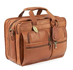 Claire Chase Jumbo Executive Computer Briefcase, Saddle, One Size