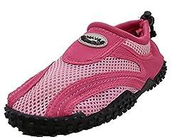 Women\'s Wave Water Shoes Pool Beach Aqua Socks - Fuchsia/Pink Black - 6