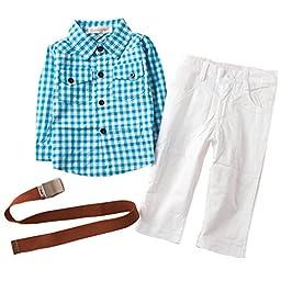 3PCS Baby Boys Plaids Shirt + White Pants +Belt Set Kids Casual Clothes Outfits 4-5Years Blue