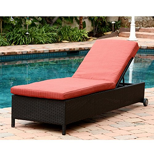 Ventura outdoor black wicker chaise lounge with cushion for Black outdoor wicker chaise