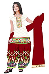 Dharmnandan Fashion Panghat White color Cotton Woman's Fancya Dress Material
