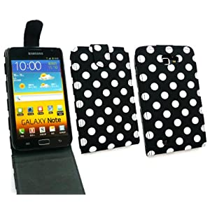 EMARTBUY SAMSUNG GALAXY NOTE POLKA DOTS BLACK / WHITE FLIP CASE/COVER/POUCH AND LCD SCREEN PROTECTOR