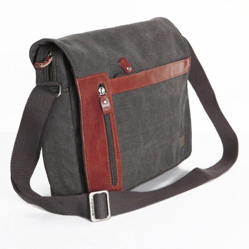 Black Large Unisex Troop London Canvas Messenger Shoulder Bag 2 zippers(0200Black)