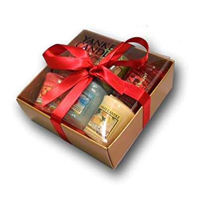 Yankee Candle - 6 Votive Sampler Gift Set - Incl Tropical Fruit Bahama Breeze In A Branded Yankee Candle Gold Gift Box With Red Tissue Paper And Red Ribbon from yankee candle/Bubblelush Divine Gifts