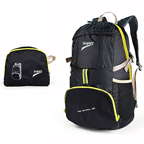 Leaper Outdoor Ultra-light Water-repellent 35L Packable Handy Lightweight Travel Backpack Daypack for Camping Hiking Trekking Mountain Climbing(Black)