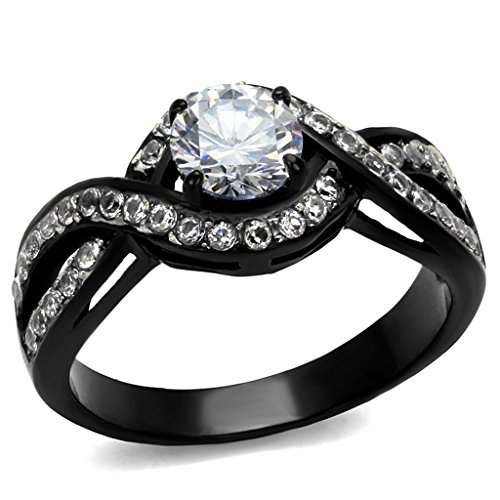 Women's 1.65 Ct Round Cut AAA Cz Black Stainless Steel Engagement Ring Size 6 (Women Rings Size 6 compare prices)