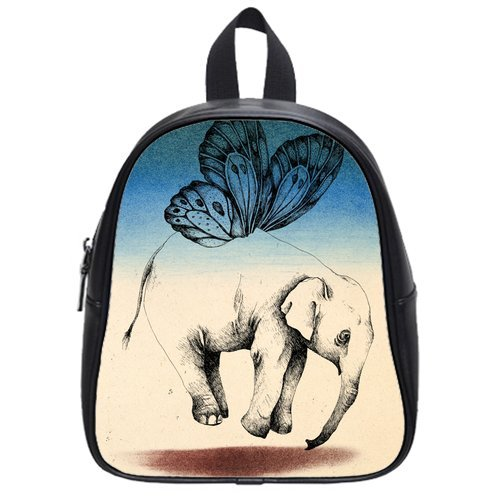 Generic Custom Sketch Flying Elephant And Butterfly Printed School Bag Backpack Fit Short Trip Pu Leather Small front-965286