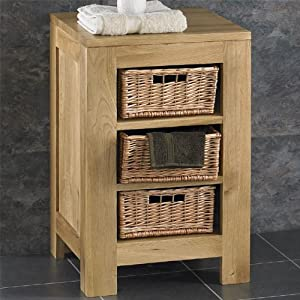 Solid Light Oak Bathroom Furniture Storage Unit With 3 Wicker Kitchen Home