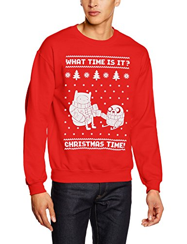ADVENTURE TIME Christmas, Felpa Sportiva Uomo, Rosso, Medium