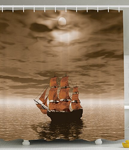 ambesonne ocean decorations collection sail boat waves full moon and sky art print bathroom set with hooks fabric shower curtain sepia brown orange