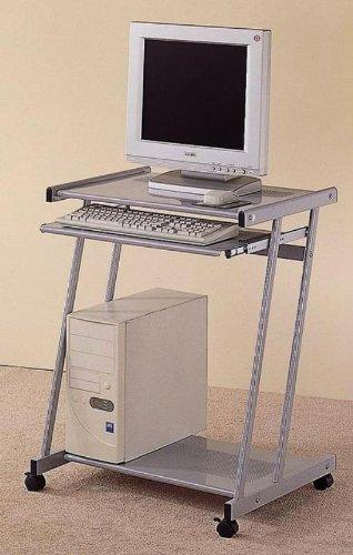 Buy Low Price Comfortable Eckley Silver Metal Computer Desk Workstation on Casters (B003Y5C3JO)