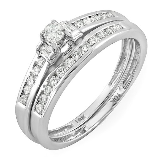 0.40 Carat (ctw) 10k White Gold Round & Baguette Diamond Ladies Bridal Ring Engagement Set