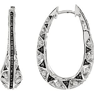 IceCarats Designer Jewelry 14K White Gold 1 Ctw Black And White Diamond Earrings . Pair 1 Ct Tw