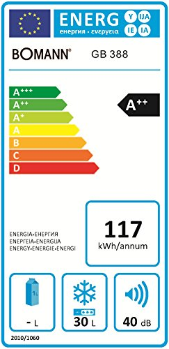 Bomann-GB-388-Gefrierbox-A-51-cm-Hhe-117-kWhJahr-30-Liter-Gefrierteil-regelbarer-Thermostat-Khlmittel-R600a-silber