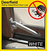 Deerfield Sliding Glass Door Deadbolt Lock (w/ Wood Door Attachment) - WHITE