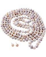 Rolicia ( Ellena Pearl) 65Inches 8- 9mm collier 165cm de culture d'eau douce multicolore perle pour les femmes et Ensemble assorti de Stud