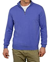 Wool Overs Men's Cashmere & Cotton Zip Neck Jumper