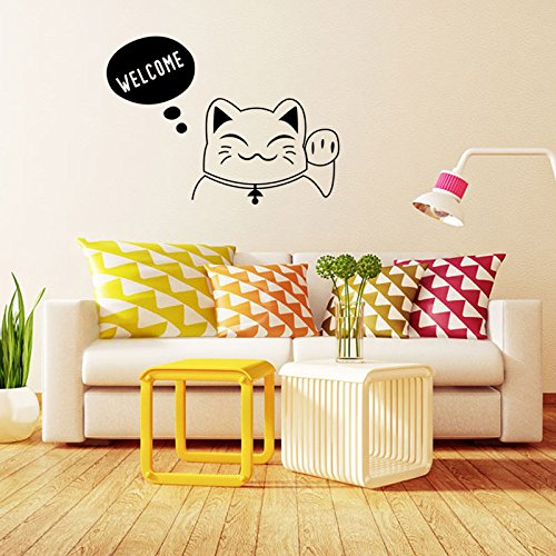 Winhappyhome-Lucky-Cat-Beckon-Bienvenue-Stickers-Muraux-Pour-Coucher-Salon-Canap-TV-Fond-Home-Decor-Tiquette-DTachable-Murales-Stickers
