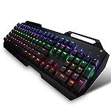 Patech USB有線メカニカルゲーミングキーボード 9色LEDバックライト付き 英語104個キー付き 複数同時押し対応 【日本語説明書付き】