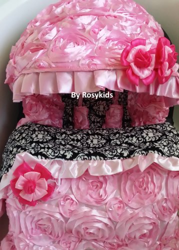 Infant Carseat Canopy Cover Blanket 4 Pc Whole Caboodle Baby Car Seat Cover Kit 3D Rosette Damask Fabric C020201