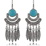 Modern Fantasy Half Round Shape Leaf pendant Plated Ancient Style Earring