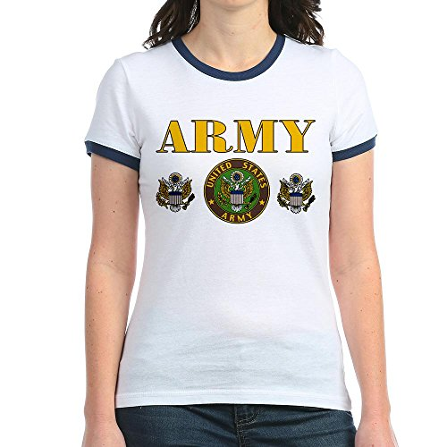 Royal Lion Jr. Ringer T-Shirt United States Us Army Military Seal - Navy/White, Medium