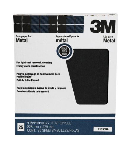 3M Pro-Pak Emery Cloth, Medium Grit, 9-Inch by 11-Inch