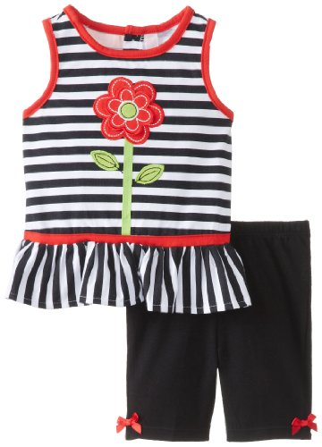 Kids Headquarters Baby-Girls Infant White Striped Top With Bermuda Shorts, Black/White, 12 Months front-739526