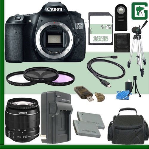 Canon Eos 60D Digital Slr Camera And Canon 18-55Mm Lens + 16Gb Green'S Camera Package 2