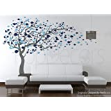 PopDecors - Tree Blowing in the Wind (Grey & Blue - 83inch H) - Custom Beautiful Tree Wall Decals for Kids Rooms Teen Girls Boys Wallpaper Murals Sticker Wall Stickers Nursery Decor Nursery Decals