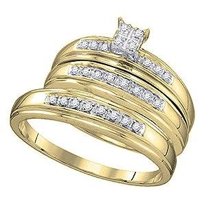 0.25 Carat (ctw) 10K Yellow Gold Round Cut Diamond Men & Women's Trio Bridal Set 1/4 CT (Size 10)