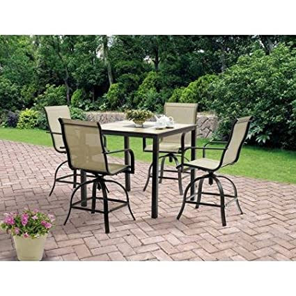 5-Piece High Patio Furniture Dining Set, Square Tiles Balcony Bar Table & 4 Swivel Chairs, Seats 4