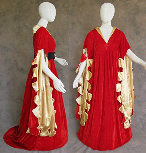 Red Scalloped Renaissance Medieval Dress SCA Ren Faire Game of Thrones LOTR 2X