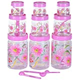 SKI Plastic 250 ML + 900 ML + 2000 ML Printed Pet Container Set With 9 Spoons, 27 Pieces