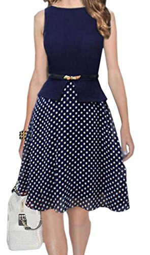 LTYY Women's Big swing Polka Dots sleeveless dress M 1