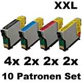 10x Kompatible Tintenpatronen für Epson Workforce 525 630 WF3010DW WF3520DWF WF3530DTWF WF3540DTWF WF7015 WF7018 WF7511 - 4x Black 2x Cyan 2x Magenta 2x Yellow