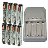 【JC】 iieco シリーズ 充電式ニッケル水素電池 単4形 (容量:1000mAh 約500回使用可能) 8個パック + 単3/単4 充電電池 対応 急速充電器
