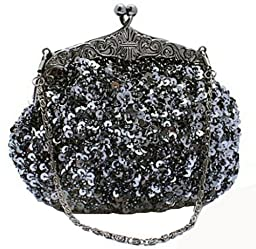 Chicastic Fully Sequined Mesh Beaded Antique Style Wedding Evening Formal Cocktail Clutch Purse - Grey