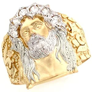 10k Two Tone Gold White CZ Jesus Religious Mens Ring