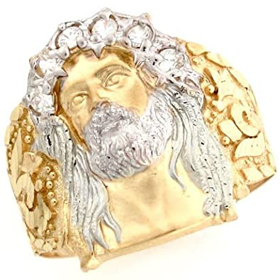 14ct Two Colour Gold White CZ Jesus Religious Mens Ring