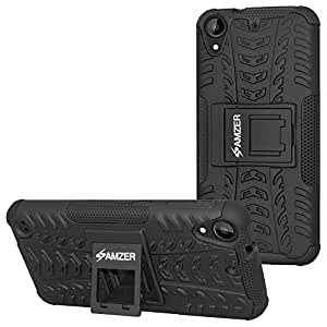 AMZER hybrid Warrior Case Back Cover for HTC Desire 530 - Black/ Black