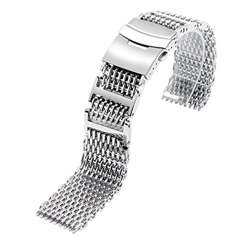YISUYA SHARK MESH 22MM Full Stainless Steel Watch Band Heavy Duty Diving Dive Watch Strap (Strap Watch Shark compare prices)