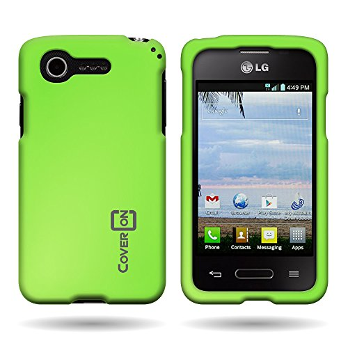 Coveron® Hard Rubberized Slim Case For Lg Optimus Zone 2 / Optimus Fuel - Neon Green