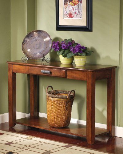 Cheap Contemporary Sofa Console Table Warm Spice Brown Finish (T224-4)
