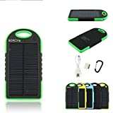 Borch Solar Panel Charger Cell Phone Portable Charger 5000mah Power Bank and Travel Charger. Utilizing Both Solar And/or Electrical Energy to Fully Charge Wireless Devices on the Go. Shockproof, Dustproof & Rainproof Provides the Freedom to Travel Anywhere with the Borch Solar Power Charger. External Battery Pack Compatible with Iphone 6 5.5 4.7 Inch 5s 5c 5 4s 4, Ipad Air, Other Ipads, Ipods(apple Adapters Not Included), Samsung Galaxy S5, S4, S3, Note 3, Note 4 Galaxy Tab 3, 2, Nexus 4, 5, 7, 10, HTC One, One 2 HTC One M8 ,Motorola Atrix, Droid , Lg Optimus, Most Kinds of Android Smart Phones and Tablets,windows Phone, Gopro Camera and More Other Kindle, Nook, and All Standard USB 5v/1a Devices. (Green)